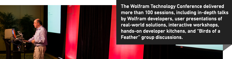 "The Wolfram Technology Conference delivered more than 100 sessions, including in-depth talks by Wolfram developers, user presentations of real-world solutions, interactive workshops, hands-on developer kitchens, and ""Birds of a Feather"" group discussions."