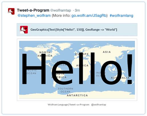 wolfram language tweet a program