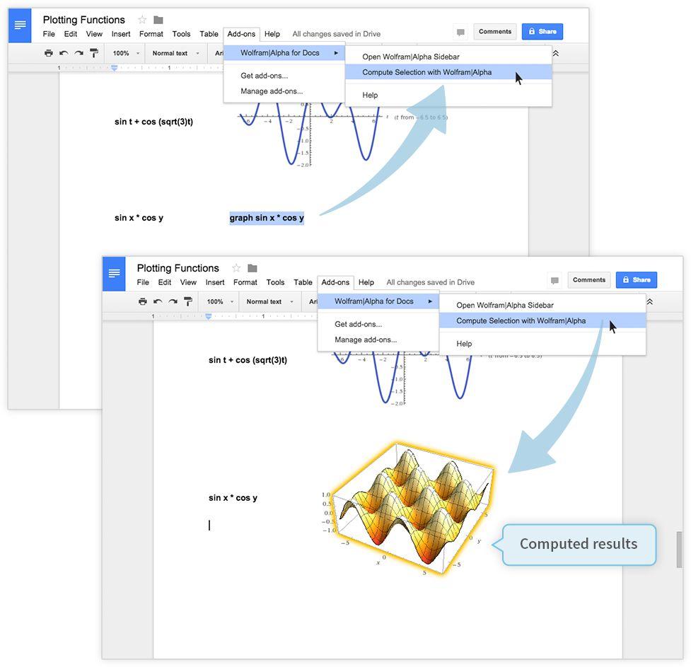 google drive用wolfram alphaアドオン